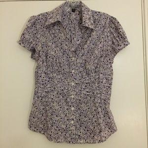 Pretty purple floral print cap sleeve blouse